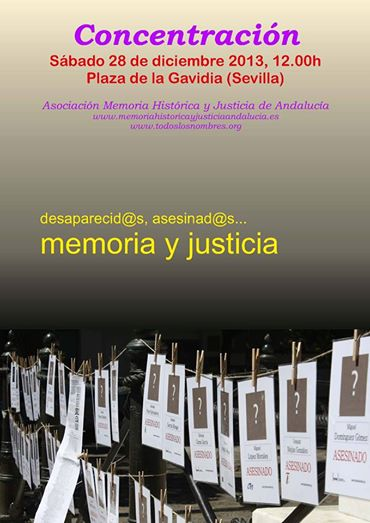 Cartel concentración en Sevilla de la AMHyJA