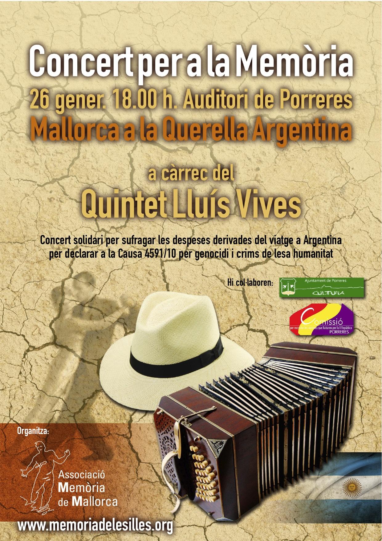 Concert per a la Memòria. Mallorca a la «Querrella Argentina» (Porreres, 26-01-14)